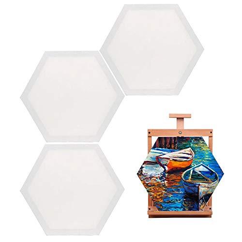 3 delar konststräckt duk, 30 cm (11,8 tum) konstmålarram, målning canvas panelbrädor, för målningsälskare, barngåvor, målningsövningar (Hexagon)
