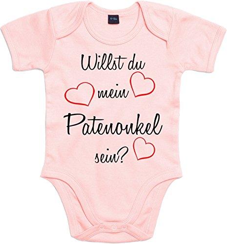 Mister Merchandise Baby Body Willst du mein Patenonkel sein? Strampler liebevoll bedruckt Pate Patenschaft Taufe Rosa, 0-3