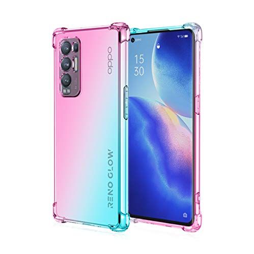 QCMM for Oppo Reno 5 Pro+ 5G / Oppo Find X3 Neo Case Slim Shock Absorption Transparent TPU Soft Edge Bumper with Reinforced Corners Multicolor Gradient Protective Cover, Pink Green