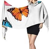 Bufanda de cachemira de imitación de moda Women's Warm Shawl Scarf Fashion Long Shawl Background Colorful Butterflies Vector Large Soft Imitation Cashmere Pashmina Shawls Wraps Light Tassel Scarf