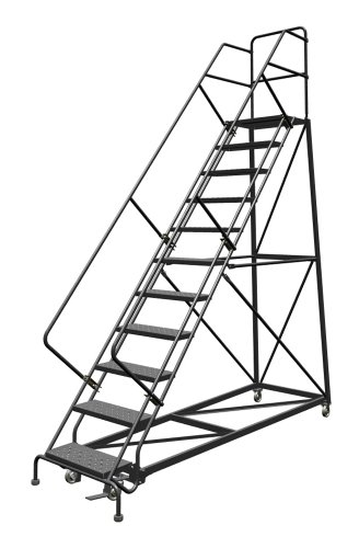 Tri-Arc KDEC111246 11-Step Forward Descent Safety Angle Steel Rolling Industrial and Warehouse Ladder with Perforated Tread, 24-Inch Wide Steps