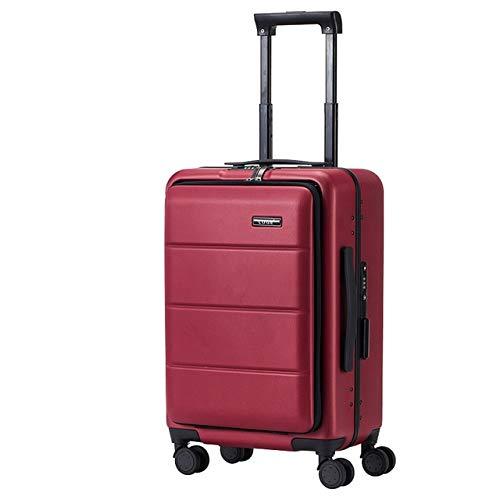 """MLGB Trolley Case 18""""20"""" 24""""26"""" Inch ABS + PC Maleta Bolsa para computadora portátil Rueda UniversalEquipajedeMano Cremallera Marco Estuche de Viaje Trolley de Negocios 18""""Vino Rojo"""