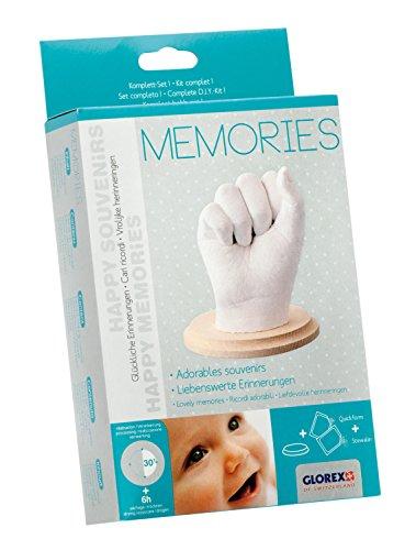 Glorex 6 2704 010 - Abform Geschenkset Memories, Komplettset zur Erstellung von Hand- und Fußabdrücken, als Erinnerung und Geschenk