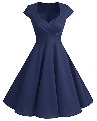 bbonlinedress 1950er Vintage Retro Cocktailkleid Rockabilly V-Ausschnitt Faltenrock Navy 2XL