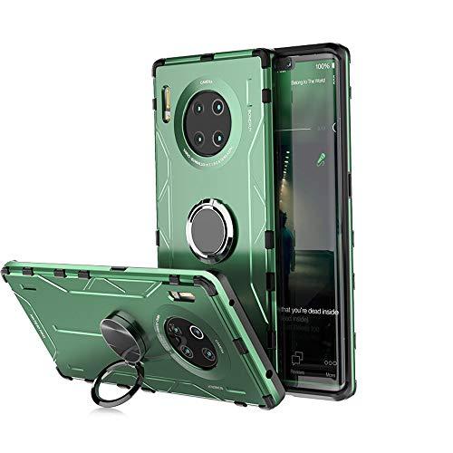 """Jonwelsy Funda para Huawei Mate 30 Pro (6,53""""), Shockproof Flexible Silicona Carcasa + Aleación de Aluminio Cover con Rotación de 360 Grados Anillo iman Kickstand para Huawei Mate 30 Pro (Verde)"""