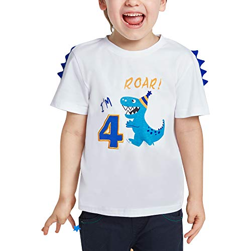 4 Años Camiseta de Manga Corta Dinosaur Cumpleaños - Niños Top Shirt Dinosaurio Cumpleaños Fiesta 100% algodón T-Rex Bordado Gráfico T Shirt