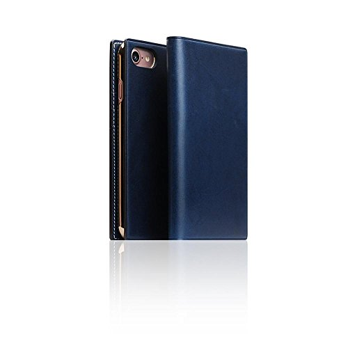 [SLG DESIGN] D7 Italian Buttero Leather Case for iPhone 8/7, Italian Premium Leather Flip Folio Book Case Wallet Cover with Feature Card Slots Compatible with iPhone 8/7 (Blue)