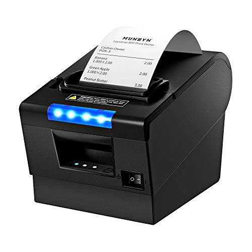 3'1/8 80mm Thermal Receipt Printer, MUNBYN POS Printer with Auto Cutter, USB Serial Ethernet Windows Driver ESC/POS RJ11 RJ12 Cash Drawer