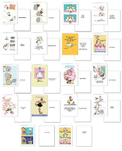 18 Boxed Set of Funny Birthday Cards, Get Well, Congrats, Thank You Assorted Pack - Ulitimate Card Survival Pack