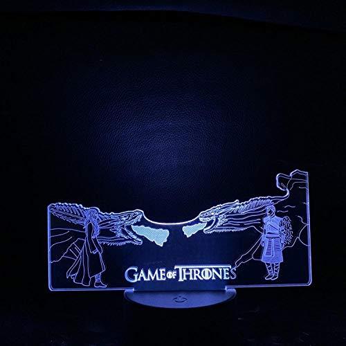 Illusionslampe Game Of Thrones 3D Nachtlicht Vier Große Familie Tierkopf Führte Bunte Berührung Gradient-Basis Mit Wecker_Alien Und Dragon Mother Duell