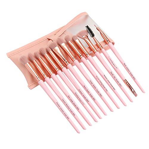 12pcs / set pinceaux de maquillage des yeux stylos cosmétiques ombre à cils w/sac (rose)