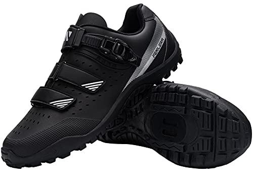 Fenlern Scarpa da Ciclismo Uomo Scarpa MTB Flat Rigida Traspirante Attacco Scarpe da Montagna Antiscivolo(Nero,42)