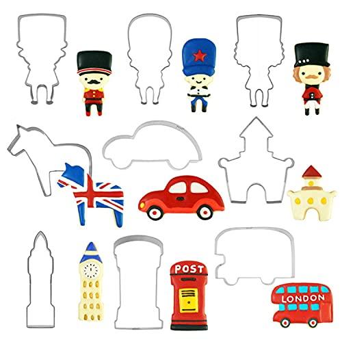 Kikiik - Juego de 9 piezas de estilo británico para coche, diseño de castillo de galletas, cortador de bús, molde de acero inoxidable