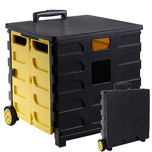 kalili キャリーカート 折り畳み式 耐荷重35㎏ 軽量 携帯便利 2段階グリップ タイヤ付き ふた付き チェア テーブル 420x420x390㎜ (イエロー)