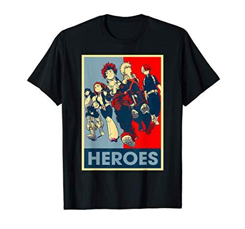 Graphic Academia My Hero Anime Retro Heroes Art Manga Series T-Shirt