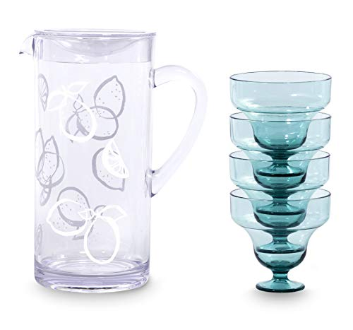 Kate Spade New York Margarita - Kit de fiesta con jarra acrílica y 4 vasos (236 ml), color azul claro