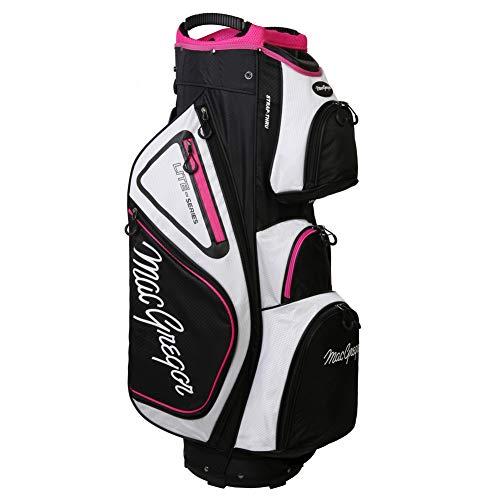 """MACGREGOR Golf VIP Deluxe 14-Way Ladies Cart Bag, 9.5"""" Top, White/Black/Pink"""