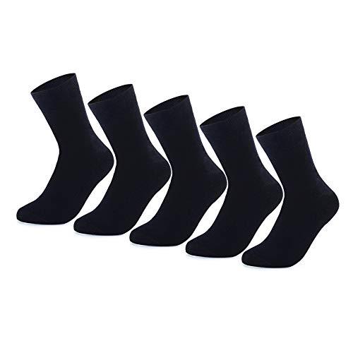 YouShow Socken Herren Damen Unisex Baumwollsocken für Business Komfort-Bund,5 X Schwarz,47-50
