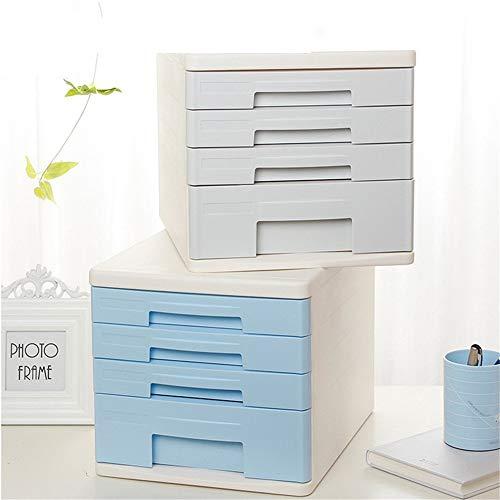MxZas Plastic Desk Organizer met 4 opslag papieren bestanden lade voor thuis en op kantoor opbergdoos