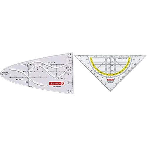 Brunnen 1049764 Parabel/Zeichenschablone (für Schule, glasklar) & 104975401 Geometrie-Dreieck/Geodreieck (für Schule und Büro, 16 cm, bruchsicher, glasklar)