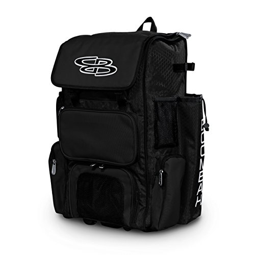 "Boombah Rolling Superpack Baseball/Softball Gear Bag - 23-1/2"" x 13-1/2"" x 9-1/2"" - Black - Telescopic Handle and Holds 4 Bats - Wheeled Version"