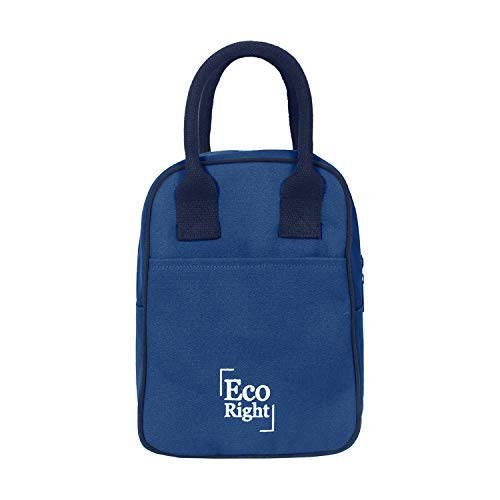 Eco Right Insulated Lunch Bag for Office Men, Women and Kids, Canvas Tiffin Bags for School, Picnic, Work, Carry Bag for Lunch Box   Navy Blue