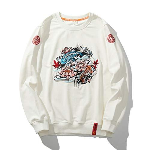 Sweat-Shirt for Hommes Style Chinois Chandail brodé Grande Taille Ample Manteau d'automne adapté for Les Personnes de Toutes Tailles (Color : Blanc, Size : M)