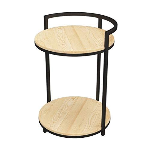 Table de Repas Double Ronde Café en Bois Massif Et Fer à Repasser Téléphone Table De Chevet Etagère Salon Chambre Canapé