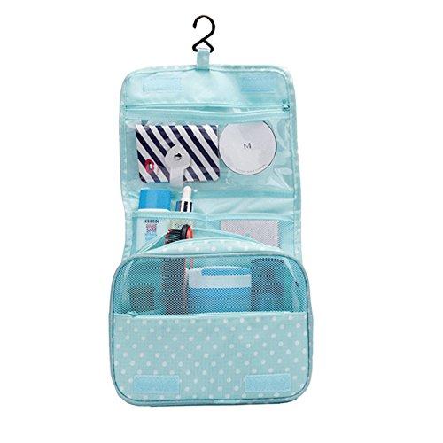 Neceser Bolsa del Organizador Impermeable colgante lavado bolso almacenamiento de maquillaje cosméticos aseo caso bolsa de viajes organizador de bolsa-Azul de cielo