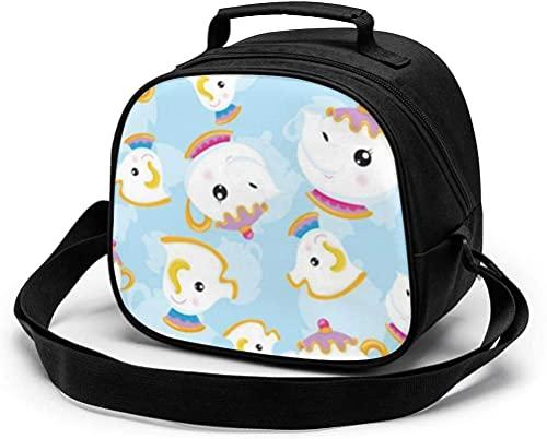 La Bella e la bestia - Bolsa de almuerzo reutilizable y portátil, bolsa de almuerzo con correa para el hombro...