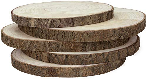 KARAVELLA X-Large Wood Slices for Centerpieces - 5 Pack Wood Centerpieces for Tables, 11 to 14 inches, Rustic Wedding Centerpiece, Natural Wood Slabs for Arts & Crafts, Wood slabs for Tables