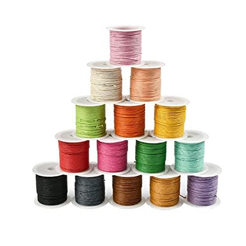 DARENYI Cordón de cera de 1 mm para hacer joyas, manualidades, hilo encerado de 15 colores, hilo de coser de cuero, cordón de macramé para joyas, pulseras, collares y manualidades