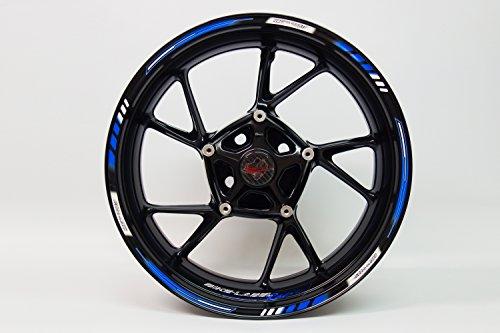 Felgenrandaufkleber 710003 Rim Stripes GP-Style - Racing 1000 Blue - komplett Set - für 16 Zoll, 17 Zoll und 18 Zoll (9 mm Breite Felgenstreifen) - für 2 Motorrad-/ oder 4 Autofelgen