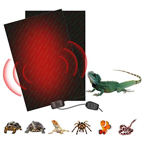 Almohadilla De Calentamiento De Reptiles, 48W (53 x 28cm) Ajustable Tapetes Térmicos para Terrarios con Controlador De Temperatura para Tortuga, Serpientes, Lagarto, Gecko, Araña