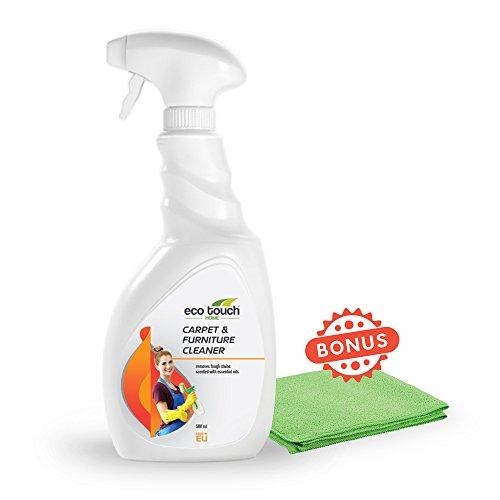 Eco Touch Teppichreiniger Haus - Polsterreiniger für Haushalt mit Gratis Mikrofaser Tuch - Extrem Bio Reiniger für Möbel, Teppiche - Entfernt Flecken, Fett - Hilft mit Hundeurin & Katzenurin - 500 ml