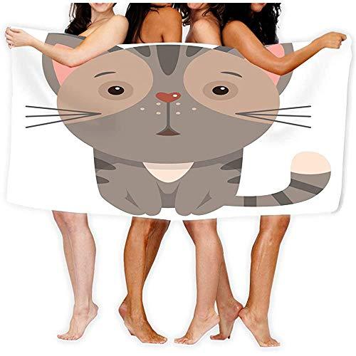Yocmre Badhanddoek zachte grote strandhanddoek cartoon kat grappige kleur cartoon print kinderen cartoon