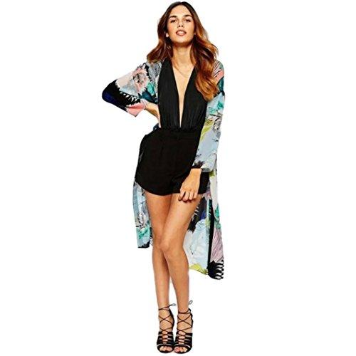 Cárdigans de Mujer ❤️ Amlaiworld Cárdigan Largo Kimono Estampado Mujer Boho de Chifón Tops Blusa de Abrigo Chal Abrigo Casual Outwear Chaqueta (Negro, S)