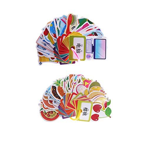 FLAMEER 2 Satz (60Pcs) Kids Word Sight Englisch Chinesisch Lernen Brain Building Flashcards
