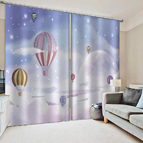 Verduisteringsgordijnen Fantasy ballon Geïsoleerde ruisonderdrukkende haak Gordijnen Slaapkamer Super Zachte Drapes Kamer Verdonkering & Energiebesparing voor Slaapkamer Keuken