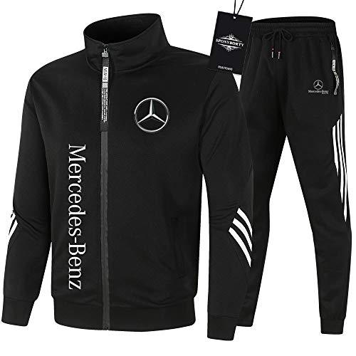 SPONYBORTY de Los Hombres Chandal Conjunto Trotar Traje Mercedes-Benz Hooded Zipper Chaqueta + Pantalones Sudadera Baloncesto Ropa Gimnasio/Negro/XXXL