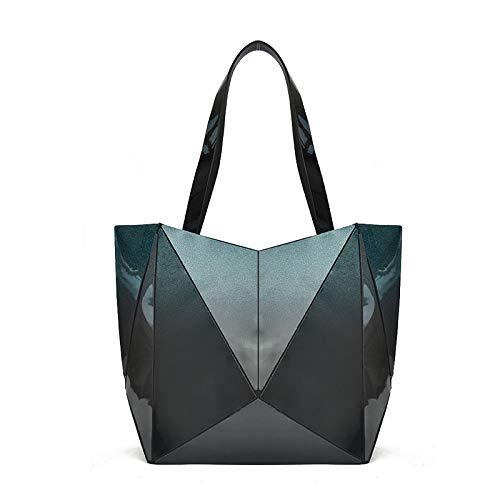 QXbecky Europa e Stati Uniti tecnologia di grande capacità pieghevole cerniera geometrica borsetta nano ultraleggera Lingge bag tracolla donna Amazon's Choice 39x31x14cm