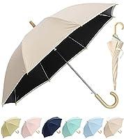 日傘 キッズ 子供 ジュニア 安心設計 反射テープ 長傘 ジャンプ傘 晴雨兼用 55cm UVカット 99.99% 遮光 遮熱効果(FKL003/ベージュ)