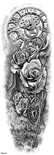 Cabeza De Reloj De Flores Hueso Gris Figura Brazo Completo 17X48cm-5Pcs Lote De Tatuajes Temporales De Moda Tatuajes Temporales A Prueba De Agua Para Hombres Mujeres Pegatinas Para Adultos Y Arte Co