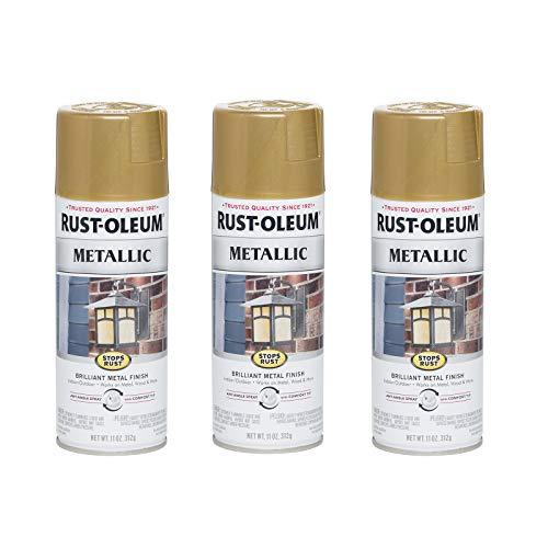Rust-Oleum 7270830-3PK Stops Rust Metallic Spray Paint, 3 Pack, Gold Rush, 33 Ounce