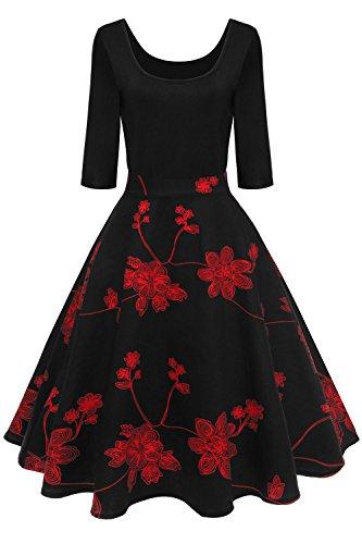 Axoe Damen A-Linie Kleid 60er Jahre Rockabilly mit Blumenrock 3/4 Ärmel Gr.36, Farbe 1, XL (44 EU)