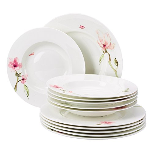 Rosenthal 61040-414124-18339 Jade - Vajilla de 12 Piezas, diseño de Magnolias