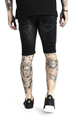 Sik Silk Herren Jeans Short Distressed Skinny Shorts SS-13006 Schwarz Washed Black, Größe:M
