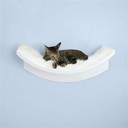 THE REFINED FELINE Lotus Leaf Cat Shelf, Modern Sturdy Curved Design Cat Wall Perch, Elegant Wood Wall Mounted Cat Furniture, White, LOT-Leaf-WH-AMZ
