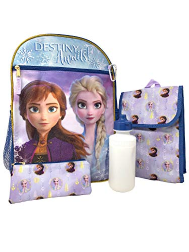 5 Piece Frozen 2 Backpack Set - Water bottle Utility case Snack tote Carabiner