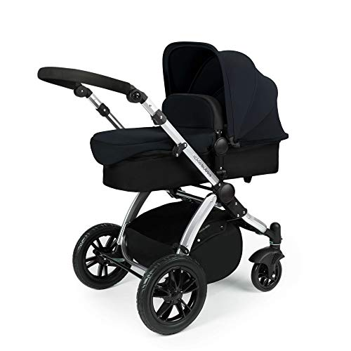 Ickle Bubba Stomp V2 All in One Travel System | Bundle Includes Carrycot, Pushchair, Car Seat, Accessories | Black on Silver Chassis